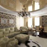 На этом фото запечатлен интерьер просторного зала, разделенного на зону гостиной и столовой
