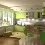 Совмещение кухни с гостиной обыгрывается цветом и светом