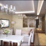 Разделение зоны кухни и гостиной. Расписное стекло закрывает только часть проема