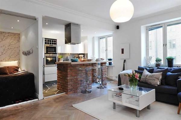 Квартира-студия характеризуется отсутствием стен и дверей (кроме тех, что отгораживают санузел)