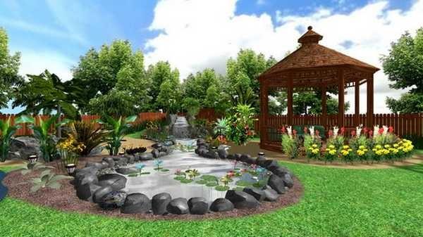 Беседка и водоем - любимые и наиболее яркие способы украсить дачный или загородный участок