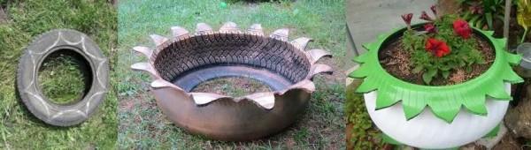 Процесс превращения старой шины в цветник