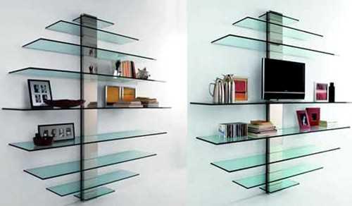 Интересный вариант из стекла. Можно произвольно менять высоту между ярусами