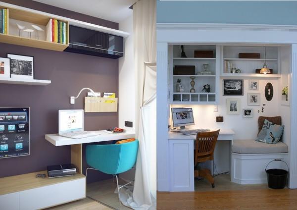 Нависающая над другими элементами мебели столешница не мешает, а место экономится