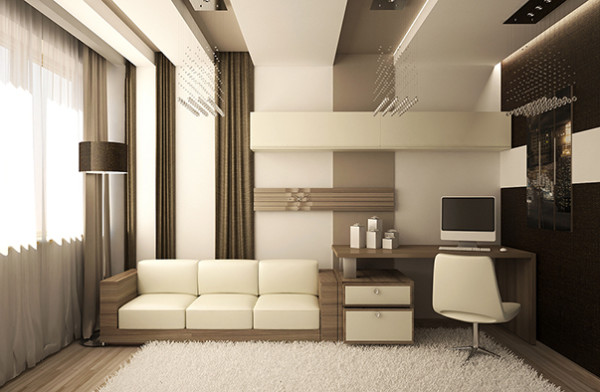 Классический дизайн однокомнатной квартиры тоже допускает такую хитрость