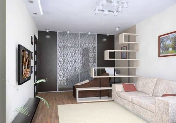 При разработке дизайна однокомнатной квартиры стараются использовать минимум мебели и аксессуаров