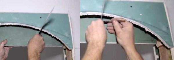 Переносим форму арки на другой лист гипсокартона