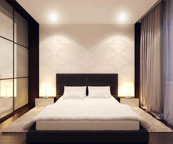 Оформление спальни в стиле минимализм - никаких лишних деталей: сугубо мужской вариант