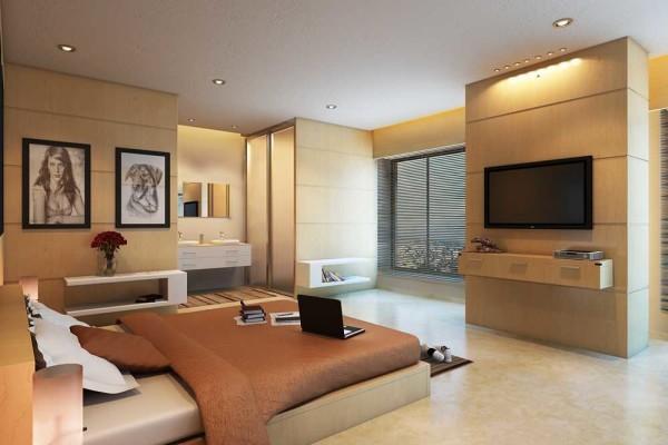 Стильное оформление, уютная спальня, как вы уже догадались - современный стиль