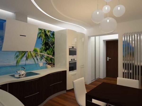 Кухня оформлена тоже в романтическом стиле - кухонный фартук с фотопечатью придает намекает о пристрастиях хозяина к путешествиям