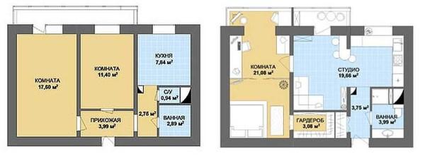 Вариант ремонта двухкомнатной квартиры - объединение гостиной и кухни