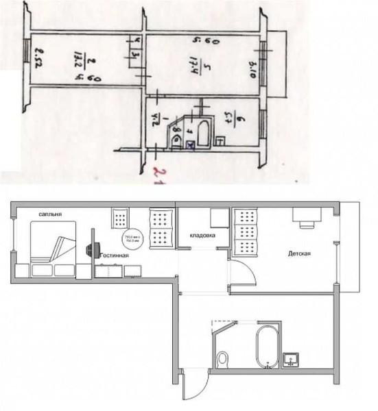 """Одна из самых нелюбимых двухкомнатных квартир - """"трамвайчик"""" легко трансформируется, превращаясь в жилье с раздельной планировкой и кладовкой или гардеробной"""
