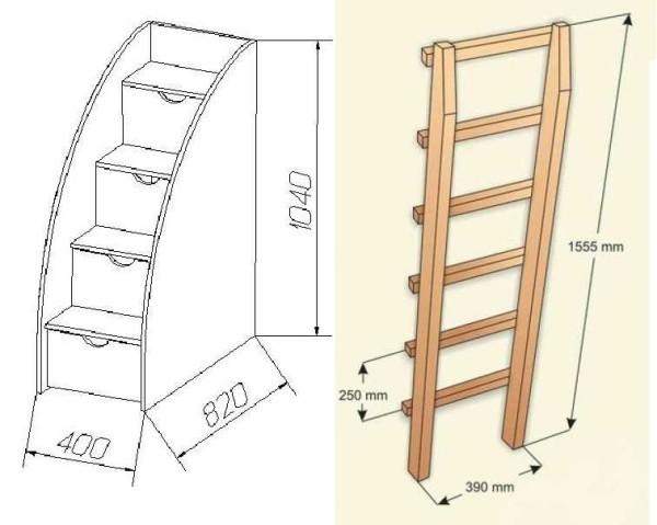 Чертеж лестниц для двухуровневых кроватей