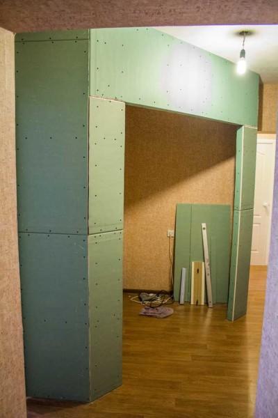 Перегородка из гипсокартона для гардеробной комнаты