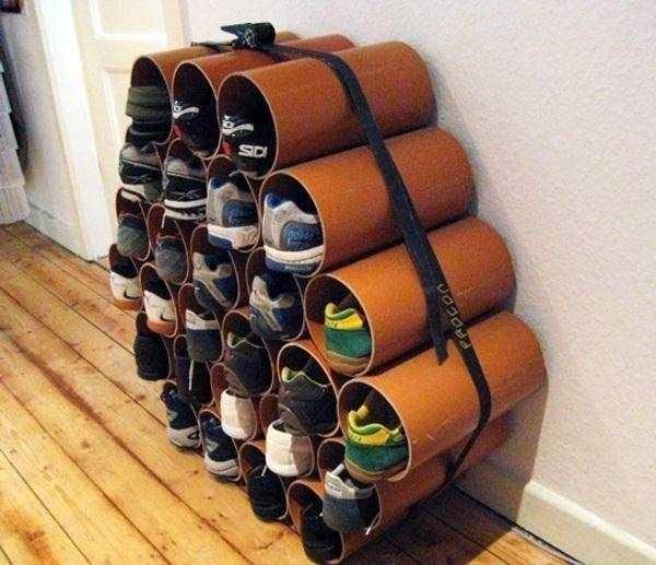 Система хранения обуви из пластиковых труб...