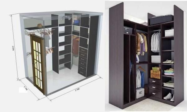 Самые маленькие гардеробные: 1,5 на 2,5 м и 2 на 2 м.