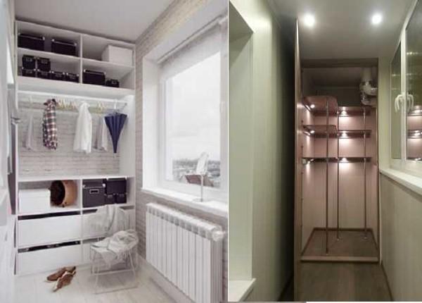 Гардеробная комната в торце балкона или лоджии