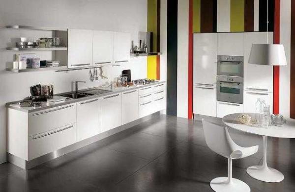 Обои для кухни в силе минимализм - строгая геометрия или однотонное тиснение