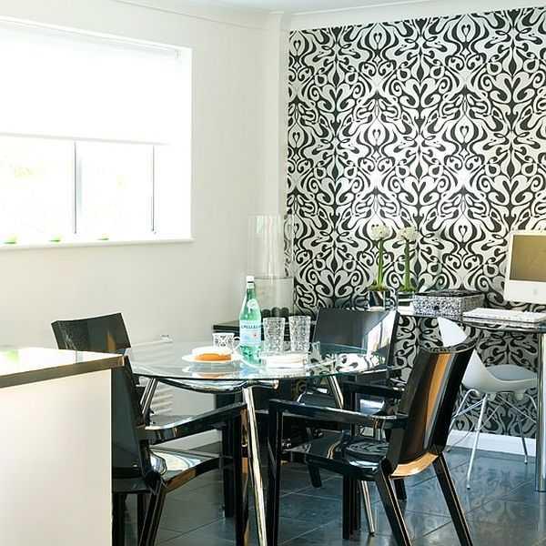 Стиль модерн - или однотонные обои на стенах кухни или двухцветные