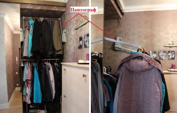 Пантограф для одежды позволяет использовать пространство до самого потолка