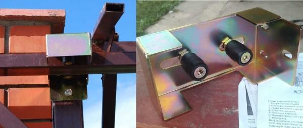 Верхние ролики крепят на стойки, захватывая верхнюю кромку ворот
