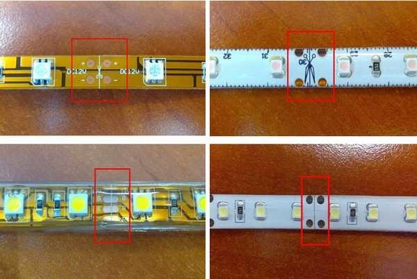 разрезают светодиодную ленту ножницами строго по разметке