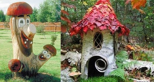Украшение для сада из пенька