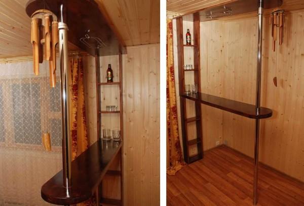 Самодельная барная стойка для кухни из доски