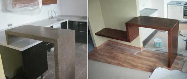 Барная стойка для кухни в современном стиле (минимализм ихайтек тоже подойдут)