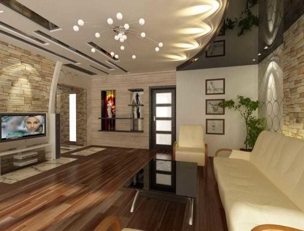 Необычные натяжные потолки : вставки, освещение