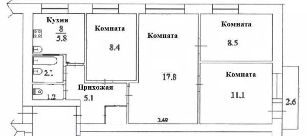 Перепланировка 4 х комнатной хрущевки: фото {amp}quot;до{amp}quot;