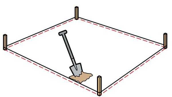 Разметка прямоугольного участка