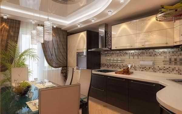 Планировка кухни с балконом - угловое расположение мебели