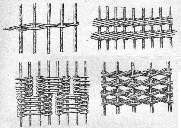 Схемы плетения заборов из лозы и прутьев