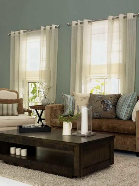 шторы на кольцах для гостиной фото