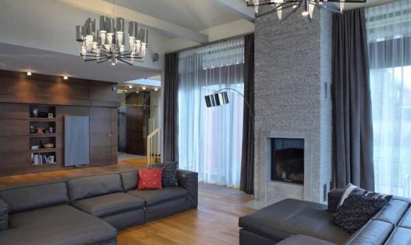 Классическая модель штор в гостиной стиля модерн