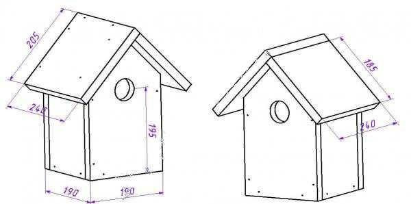 Скворечник с треугольной крышей: чертеж, размерыСкворечник с треугольной крышей: чертеж, размеры