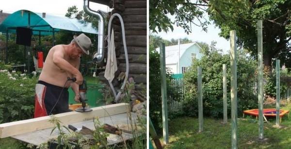 Готовим столбы, пропитываем, ставим и бетонируем