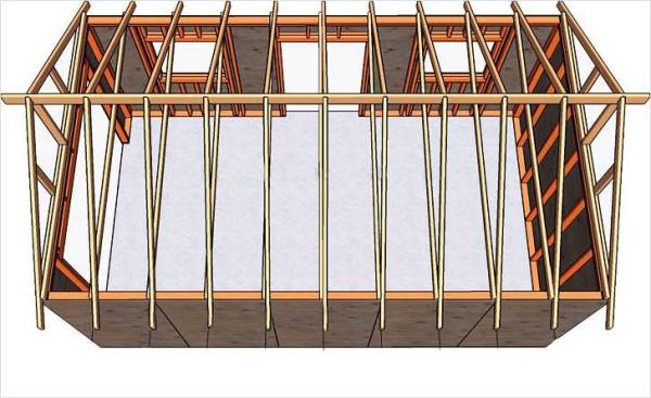 Пример стропильной системы двускатной крыши