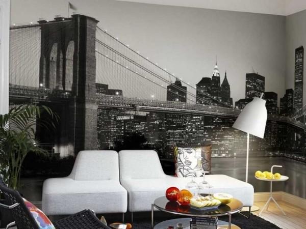 Черно-белые фотообои на стенах гостиной могут быть ничуть не менее эффектны