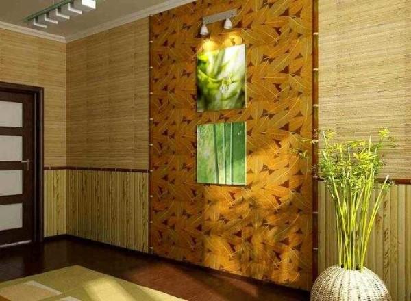 Бамбуковые обои хорошо скрывают неровности стен