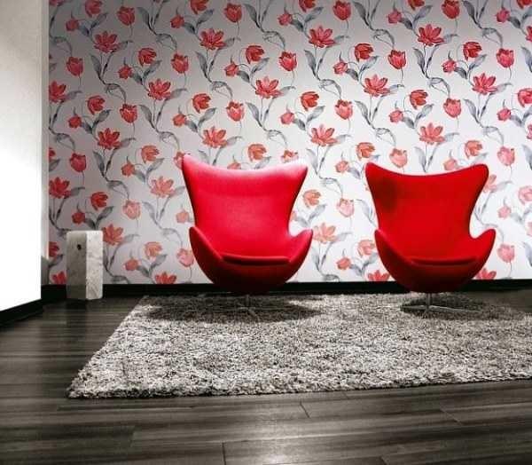 Стиль другой, принцип подбора обоев тот же: цвета должны повторятся в обивке мебели, аксессуарах или в текстиле