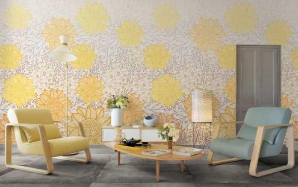 Бледно-желтые цветы в гостиной стиля модерн