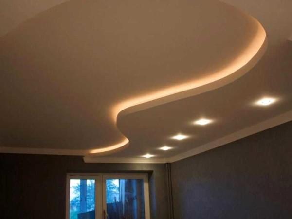 Потолок двухуровневый из гипсокартона с подсветкой
