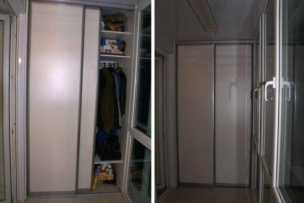 Шкаф-купе на балконе для хранения вещей