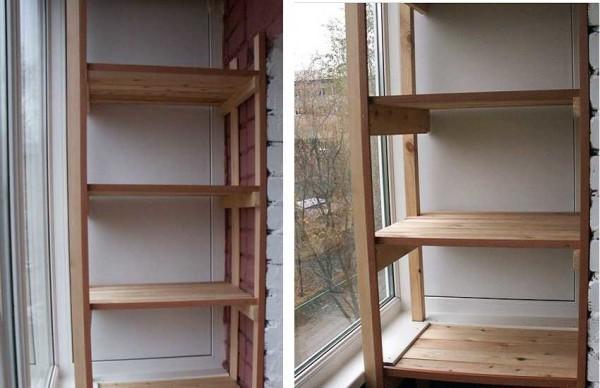Полки из досок на балконе делают чаще всего