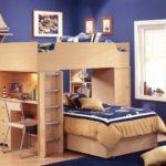 Двухъярусная кровать с рабочими местами для двух учеников