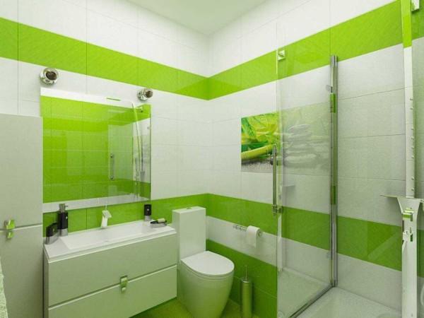 Сочная зелень на белом фоне - простая и эффектная раскладка плитки