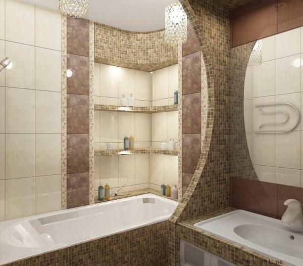 И снова мозаика...Удачно отделена ванна от умывальника - будет меньше брызг