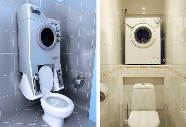 Куда установить стиральную машинку в туалете